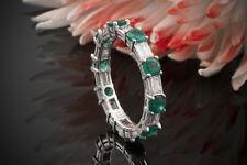 Schmuck Memoire Ring Smaragd & Baguette Diamanten in 750er Weißgold 18 Karat