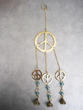 Solid Brass Peace Sign with bells and beads, Wall hanging light pull