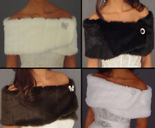 Faux fur shrug stole wedding shawl bridal wrap White, Ivory, Black, Brown, Red