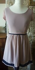 House of Fraser Dress M/L 12 Beige Nude / Navy Blue Summer Midi Chiffon RRP £32