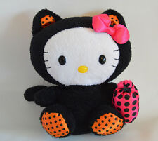 "Ty Sanrio 6"" Hello Kitty Black Cat Halloween Costume Polka Dot Plush Trick Treat"