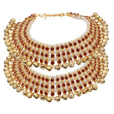 Indian Payal Ankle Bracelet Kundan Ghungroo Wedding Red Anklet Fashion Jewelry