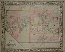 VINTAGE 1865 UTAH TERRITORY ~ NEVADA STATE MAP OLD ANTIQUE ORIGINAL 66/050217