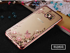 Shockproof Flower Soft Gel Bling Case Bumper Cover for Samsung Galaxy phones #