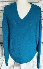 Karen Scott Women's Large Sweater Pullover Blue Chunky Knit V Neck Soft