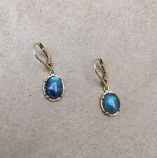Labradorite Gemstone Cabochon Drop Earrings NWOT
