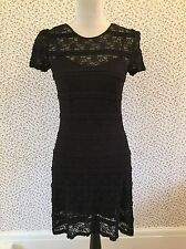 Jack Wills 'Merrington' Black Lace Dress With Under-layer. Size 8.