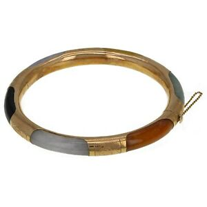 14k Yellow Gold Multi-Color Jade Lucky Bangle Bracelet