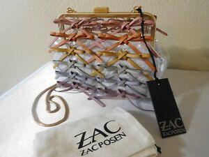 New ZAC POSEN Lacey Frame Rainbow Lacing Clear Clutch Handbag, Purse