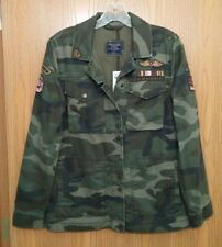 NWT Abercrombie & Fitch Womens Patch Twill Camo Military Jacket Coat ~ M