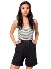 American Apparel Military Cuff Shorts NEW Black XS high-waist long inseam