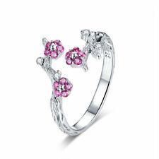VOROCO 925 Sterling Silverwintersweet Flower Rings With AAA CZ Adjustbale Ring