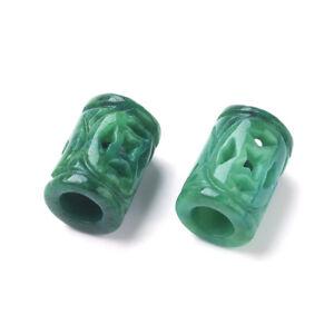 10pcs Natural Burma Jade Stone European Beads Column Hollow Loose Charms 14x10mm