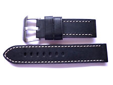 24mm Watch Strap Band with Buckle- 24/24mm Black Leather Panerai Style