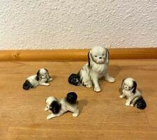 Vintage Ceramic Shih Tzu Type Dogs Family Figurines, Black & White Germany 5958