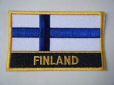 FINLAND PATCH Deluxe Embroidered Iron On Badge FINNISH National Flag NEW