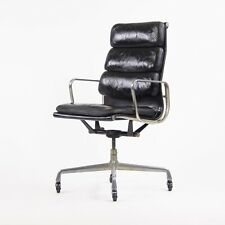 1976 Vintage Black Eames Herman Miller High Back Soft Pad Aluminum Group Chair