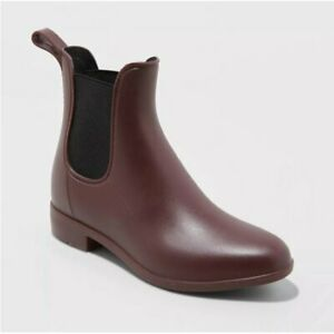 A New Day Women's Alex Ankle Rain Boots - Berry - Size 11 Wide - New