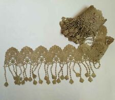 1YARD Embroidered Metalllic Gold Fringed Lace Sewing Appliques Trim Edge HB11