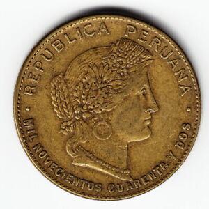 PERU 20 centavos 1942 KM215a.1 Bs Philadelphia 3yr type MUCH ABOVE AVERAGE- RARE