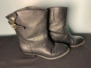 Women's Chinese Laundry Slip On Black Booties Back Buckles Size 6