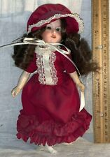 """ANTIQUE 8 1/2"""" BISQUE FACE DOLL MECHANICAL EYES PRETTY MAROON HAT DRESS CLOTHING"""