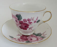Queen Anne Bone China England Rose Pattern Cup and Saucer Tea Porcelain