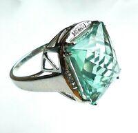 topmk-schmuck Ring, 925er/rhod., FLUORIT, WEISSTOPAS, Gr.: 65 (20,6 mm Ø)