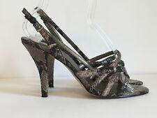 "Nine West Shoes Strappy High Heel Animal Print Taupe Black Croco Snake 3"" Sz 7"