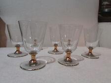 8 anciens verres a pied a eau en verre et doré epoque 1950