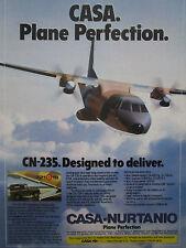 11/1985 PUB AVION CASA CN-235 MILITARY TRANSPORT AIRCRAFT LAND ROVER ORIGINAL AD