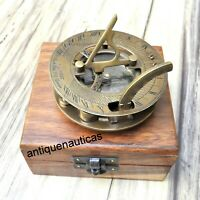 SUNDIAL Compass With Handmade Wooden Box Nautical Maritime Antique Brass Gift