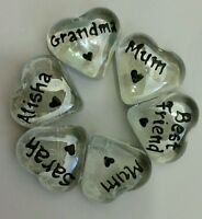 Personalised Heart Glass Name Pebbles Love/Friends/Family..