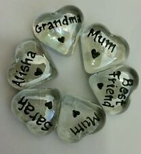 Personalised Heart Glass Name Pebbles Love/Friends/Family