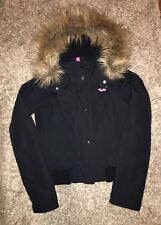 Hollister Womens All Weather bomber Jacket Size Small faux fur Hooded, Navy
