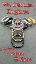 Gold Blue Silver Black Rainbow wedding ring various size & widths (We Engrave)