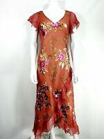 Monsoon Dress 12 Silk Blend V Neck Floaty Brocade Floral Frill Hem Multicolour