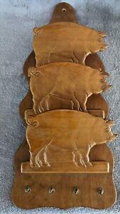 Vintage Wood Carved Pig Mail Organizer  3 Tier Holder Hooks For Keys