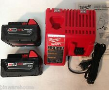 New 2 (Two) Milwaukee M18 48-11-1828 18V Red Lithium Battery XC 3.0Ah & Charger
