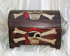 PIRATE CHEST STORAGE TRUNK SKULL & CROSSBONES ON EACH PANEL DISTRESSED FINISH