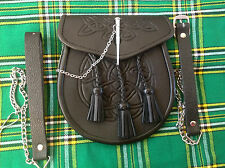 NEW CELTIC EMBOSSED LEATHER LATCH PIN KILT SPORRAN BLACK Belt + Chain