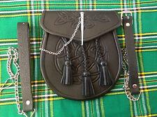 NEW CELTIC EMBOSSED LEATHER LATCH PIN KILT SPORRAN BLACK Belt + Chain