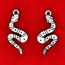10 x Tibetan Silver Double Side Snake Harry Potter Charms Pendants Beads