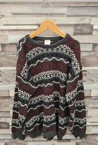 MENS VTG 90S UK KNITWEAR BOLD GEOMETRIC ABSTRACT PULLOVER ACRYLIC COSBY JUMPER S