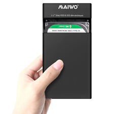 "Maiwo Dual Bay 2.5"" SATA HDD USB 3.0 Raid Hard Drive RAID Enclosure Storage Case"