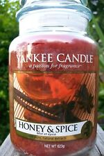 "Yankee Candle ""HONEY & SPICE"" ~ Large 22 oz. European ~ YELLOW LABEL ~ NEW"