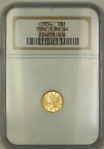 1854 Type 1 $1 Liberty Gold Coin NGC MS-64 Very Choice BU Ultra Bright KRC