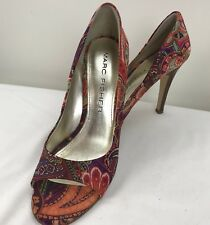 Marc Fisher Samelia Orange Multi Satin Paisley Heels Women's 8.5 Peep Toe