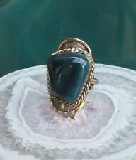 Ring Alpaca Silver Achat Blue from Peru Ethno Inca Maya Indian Style 34