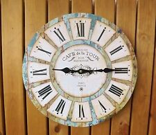 Blue Rust Effect Rustic Round Wooden Wall Clock Cafe de la Tour Paris France